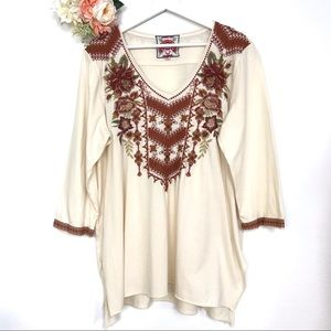 Johnny Was Embroidered 3/4 Sleeve Tee Size XL